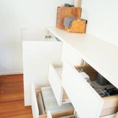 収納/整理収納/リビング/文房具収納/おうち リビングの備え付け家具に、文房具や取扱説…