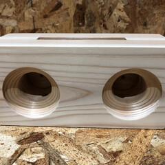 杉/スマホスピーカー/木工/DIY/ハンドメイド 杉で作って見ました! 少し音がこもる感じ…