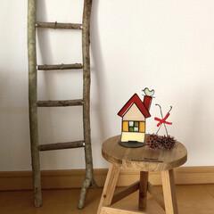 はしご/ハンドメイド/雑貨/インテリア/住まい 昨夜、はしごの飾り(ラダーラック?)を作…