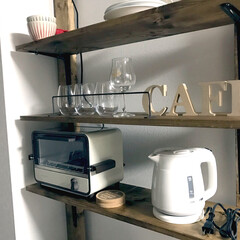 ワンルーム/セリア/ディアウォール/キッチン 食器棚置くスペース無かったから、ディアウ…