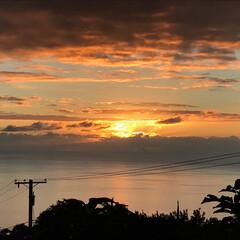 夕陽 昨年のハワイ島コナから下のレストランのデ…