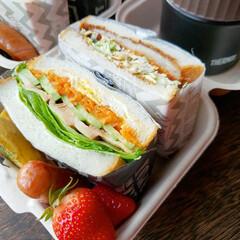 デリスタグラマー/オベンター/スープジャー/パン弁当/ランチ/旦那のお弁当/... 3月20日のお弁当❗ #サンドイッチ弁当…(2枚目)
