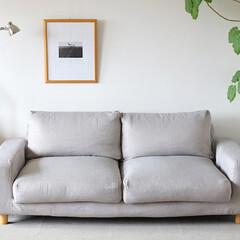 ソファカバー/無印ソファ/インテリア/インテリアデザイン/リビング/家具/... 無印良品のワイドアームソファにコンフォー…(1枚目)