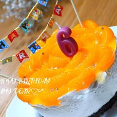 手作りケーキ/デザート/スイーツ/親子でクッキング/happybirthday/レアチーズケーキ/... 今日は子供の誕生日でした٩(*´꒳`*)…