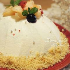 家族団らん/至福の時間/食後のデザート/おうち時間/おうちカフェ/エキナカ/... 桃のムースドームケーキを作りました𓂃 …
