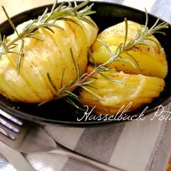 新じゃが/家庭菜園/ローズマリー/レンジで時短/トースター/オーブン料理/... ハッセルバックポテトを作ってみました。 …