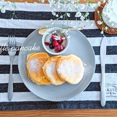 ブランチ/週末/寝坊/スフレパンケーキ/ナチュラルキッチン/キャンドゥ/... 週末は寝坊すけなワタクシ。 遅〜い朝食に…