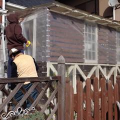 冬/ウッドデッキ/寒さ対策/DIY/ビニールシート/プチプチ/... 我が家のウッドデッキ。光と風が入るように…