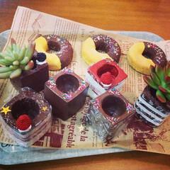 スィーツデコ鉢/モルタル造形/多肉植物鉢/バレンタイン2019 @mako322さんのモルタル造形が素敵…