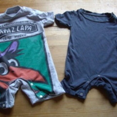 わたしの手作り/カバーオール/ベビー服/リメイク/古着/100円ショップ/... パパのTシャツのお古を、子供服(カバーオ…