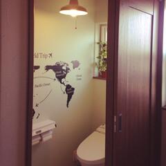 我が家の照明/LED電球/トイレの照明/世界地図/IKEAの洗面所/IKEAの照明/... 二階トイレと寝室の照明は、 ちょっとクラ…