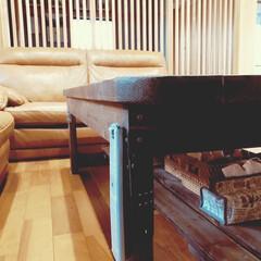 3人掛け ハイバック 本革レザーソファ(ソファ)を使ったクチコミ「ソーイング用の後や小物は、 DIYした棚…」(5枚目)