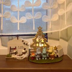 ハンドメイドのクリスマス雑貨/クリスマス雑貨/ムーミン一家のクリスマス/ムーミン一家/ミニツリー/木製LEDオブジェ/... トイレにもクリスマス雑貨を飾りました。 …