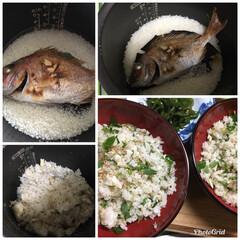 新米/鯛飯/鯛の姿焼き/祝いごと/フード/おうちごはん 秋祭りにお呼ばれ 赤御膳に鯛の姿焼き 今…