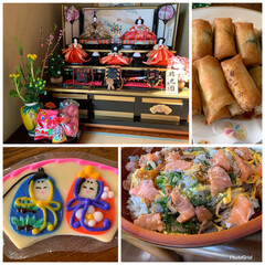 雛人形/ちらし寿司/春巻き/ひなまつりごはん/雛祭り/絵付け蒲鉾/... 我が家のひな祭り 今日は出掛けていたので…