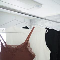 ステンレス ハンガー すべらない 洗濯 ハンガー 頑丈 錆びにくい 曲がらない ハンガー スカート シルバー ハン(物干しハンガー、ピンチ)を使ったクチコミ「シンプルなステンレスハンガー。横幅がかな…」