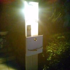 外構/門柱/ポスト/リフォーム 地味なポストが・・、夜でも映える門柱に!