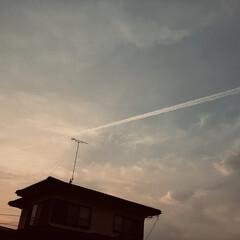 暮らし 夕方の飛行機雲  明日は、天気下り坂  …(2枚目)