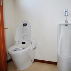 タンクレストイレ/小便器 機能性を重視し、小便器も兼ねそなえた広い…