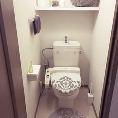 トイレ/お気に入りインテリア/手作り棚/賃貸アパート/DIY 賃貸アパートのトイレはパッとしない分、カ…