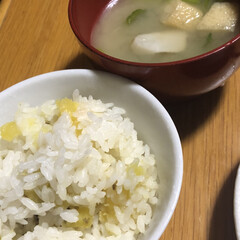 芋づくし/新鮮野菜/食事情 今日の晩ご飯😋 さつまいもご飯に小松菜と…
