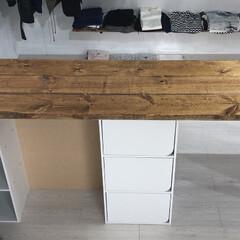 中古物件/セルフリノベーション/カウンターテーブル/カウンターキッチン/フォロー大歓迎/DIY/... 塗装した2×8材をビスで固定。  htt…