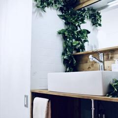 洗面所リフォーム/洗面所DIY/洗面所/セルフリノベーション/セルフリフォーム/リノベーション/... 40年前のレトロな洗面台を洗面ボウルにD…
