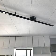 照明/スポットライト/ダクトレール/男前インテリア/DIY/リフォーム 簡易ダクトレールを買いました。キッチン側…