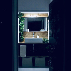 洗面所DIY/洗面所リフォーム/洗面所/セルフリノベーション/セルフリフォーム/リノベーション/... 40年前のレトロな洗面台を洗面ボウルにD…