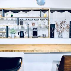 カウンターキッチン/収納棚DIY/収納棚/キッチン雑貨/収納/キッチン/... キッチンカウンターに合わせた収納棚を作り…(2枚目)
