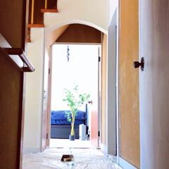 セルフリノベーション/玄関/中古物件/リノベーション/漆喰/DIY/... 玄関砂壁塗りきれてなかった部分を塗ります…