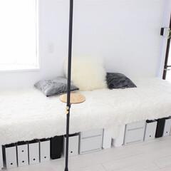 リノベーション/セルフリノベーション/ソファー/カーペット/ラグ/小上がり/... 木材でソファーベッド兼小上がりを作りまし…