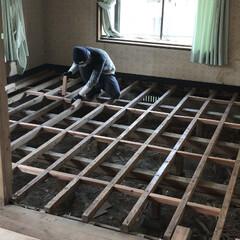 張り替え/和室を洋室に/和室リノベーション/和室から洋室/床張り替え/中古物件/... 床下に根太を入れて補強。 床張り替えの準…