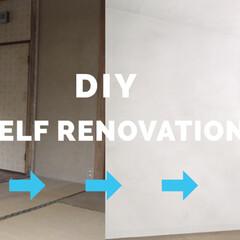 押入れ/押し入れ/ミルクペイント/素人DIY/ペンキ塗り/中古物件/... グレーのペンキを重ねてモルタル風の壁に塗…