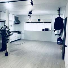 フェイクグリーン/男前インテリア/ダクトレール/白い部屋/モノトーン/インテリア/... キッチン側も明るくなりました。 ニトリの…