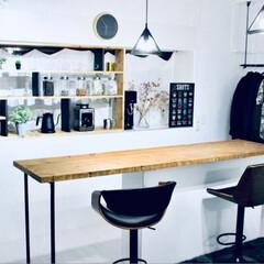 カウンターキッチン/収納棚DIY/収納棚/キッチン雑貨/収納/キッチン/... キッチンカウンターに合わせた収納棚を作り…