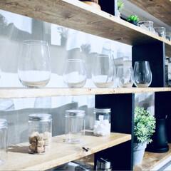カウンターキッチン/収納棚DIY/収納棚/キッチン雑貨/収納/キッチン/... キッチンカウンターに合わせた収納棚を作り…(4枚目)