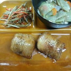 きんぴらごぼう/豚汁/肉巻きおにぎり/ニトリ/フード/わたしのごはん はじめての肉巻きおにぎり♥  大量に作っ…