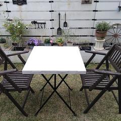 ガーデン/リメイク/IKEA/ガーデンテーブル/庭/雑貨/... 天板が反ってしまったIKEAのガーデンテ…