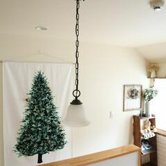 タペストリー/クリスマス/クリスマスツリー/DIY/ハンドメイド/雑貨/... 2階の廊下には、昨年購入した ツリーのタ…(1枚目)