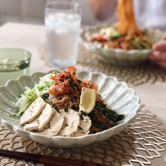 麺類/ビビン麺/韓国料理/おうちごはん/朝食/あさごはん/... 梅雨の曇り空 蒸しじめーっとした日の朝ご…