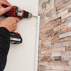 壁面収納DIY/壁面収納棚/壁面収納/キッチン収納DIY/収納棚/収納アイデア/... キッチンの収納棚完成しました✨ 土台にな…(5枚目)