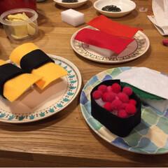 お寿司屋さん/おままごと/子ども/ハンドメイド/100均/ダイソー/... DAISOで売ってたバンブーファイバープ…