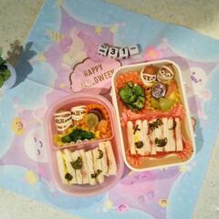お弁当/サンドウィッチ/ハロウィン/キャラクター/海苔/キャラ弁/... ハロウィンお弁当🍱  ミイラ男をウインナ…