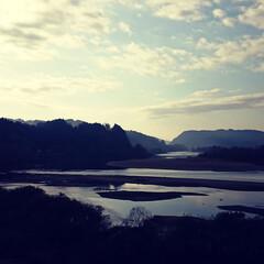 河川敷 100km南下した県内は曇天。