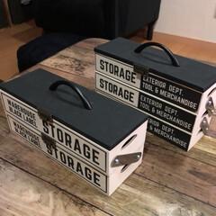 100均材料/リメイク/男前/ツールボックス/木箱/DIY/... セリアの木箱を使ってツールボックスを作り…