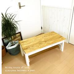 2×4/1×4材/リビングテーブル/ホームセンター/DIY/ローテーブル/... * リビングテーブルDIY * 色味も気…