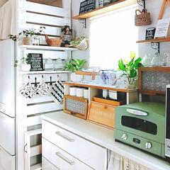 ラブリコDIY/ラブリコ/DIY/キッチン/キッチン雑貨/雑貨/... 冷蔵庫横にラブリコを使って棚を設置しまし…