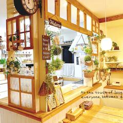 キッチンダイニング/カウンター上/窓枠風/窓枠風diy/DIY/キッチン/... * キッチン&ダイニング *