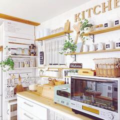 アルファベットオブジェ/冷蔵庫横/ラブリコ/キッチンインテリア/カフェ風キッチン/カフェ風インテリア/... お気に入りのキッチン背面♥ 冷蔵庫横のラ…